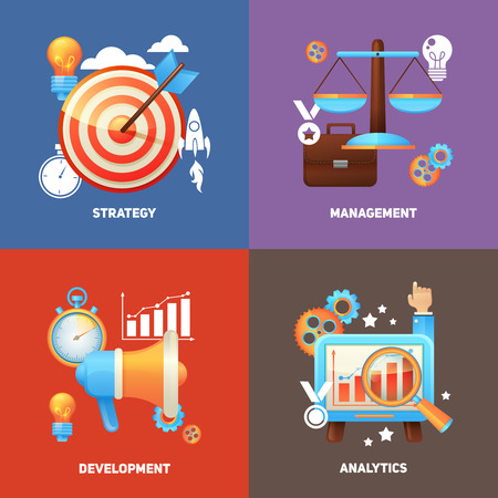 SEO concepts flat icons set with strategy management development analytic isolated illustration 向量圖像