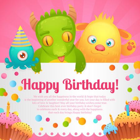 Cute cartoon monster party funny alien character happy birthday card design illustration Vector