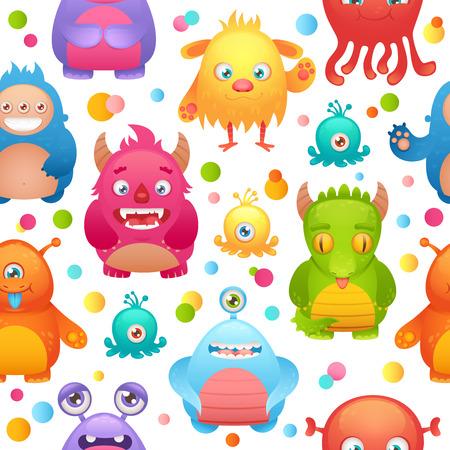 character design: Cute cartoon monsters little funny alien mutant character seamless pattern illustration