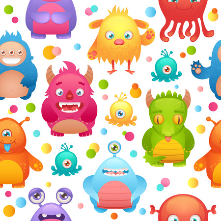 Cute cartoon monsters little funny alien mutant character seamless pattern illustration