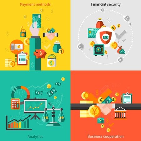Finance flat icons set with payment methods financial security analytic business cooperation isolated illustration