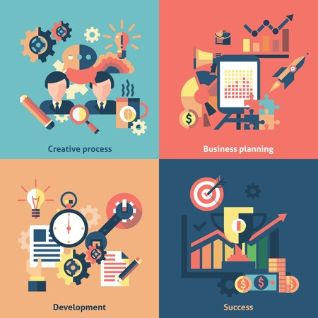 business planning: Creative process flat icons set with business planning development success isolated illustration