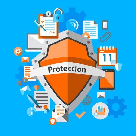 안전한 인터넷 정보 요소 일러스트와 함께 컴퓨터 데이터 보호 및 보안 개념