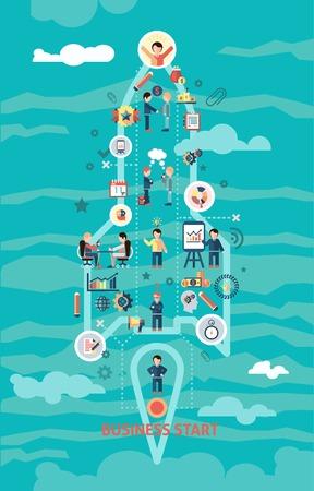 concept de départ d'affaires à la roquette et à la présentation de la gestion et des icônes de développement illustration Vecteurs