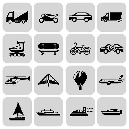 Transport black icons set with motorcycle car skateboard isolated illustration Vector