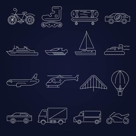 yacht isolated: Iconos contorno Transporte establecen con aislados yate avi�n scooter de ilustraci�n