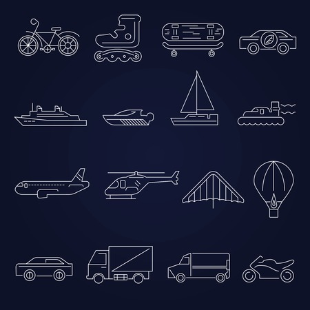 Transport outline icons set with scooter airplane yacht isolated illustration Vector