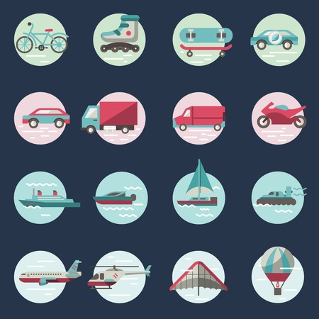 Transport round button icons set with truck helicopter motorcycle isolated illustration Vector