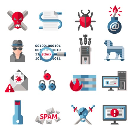 computer hacker: Hacker activity computer and e-mail spam viruses icons set isolated illustration