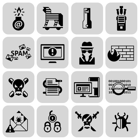 criminal activity: Hacker icons black set with trojan spam bug danger isolated vector illustration