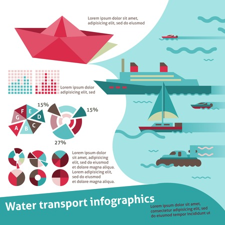 Water transport travel infographic set with sail ship yacht scooter illustration Ilustração