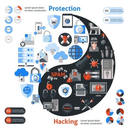 cyber attack: Hacker cyber attack safety and protection icons set in zen symbol shape vector illustration Illustration
