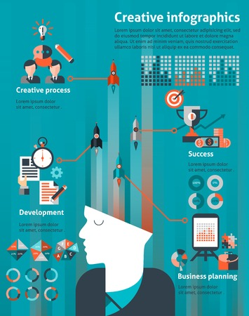 marketing research: Creative infographic set with human head and business planning development success elements illustration Illustration