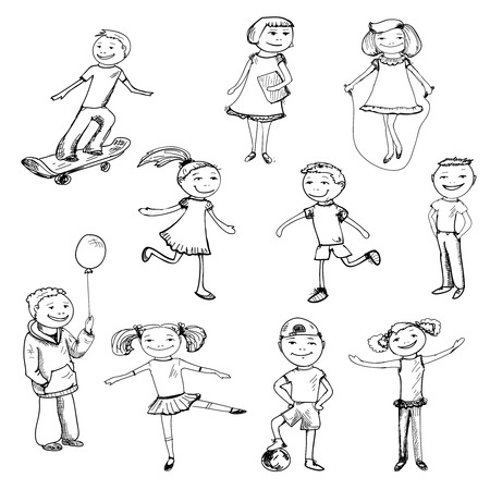 Children boys and girls playing sketch characters set isolated illustration Vector