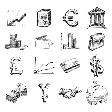 cash in hand: Finance banking business money exchange hand drawn icons set isolated illustration