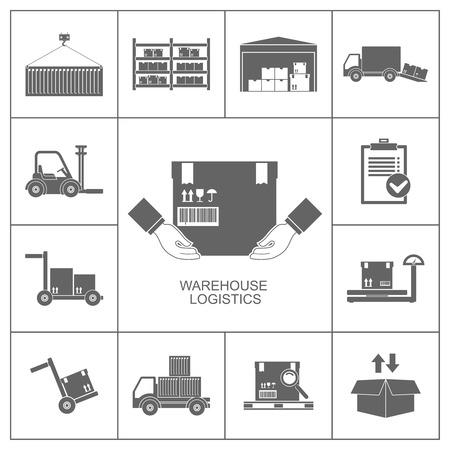 camioneta pick up: Conjunto de almacenes de almacenamiento y logística iconos ilustración negro Vectores