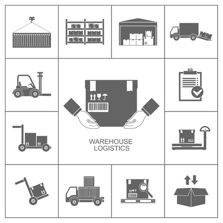 Warehouse set of storage and logistic black icons illustration Vector