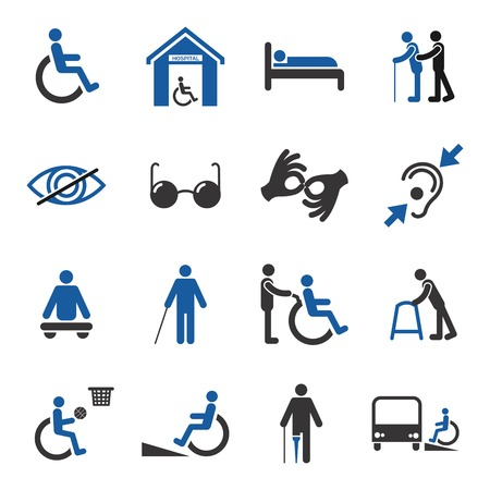 Disabled people care help assistance and accessibility icons set isolated illustration Vectores