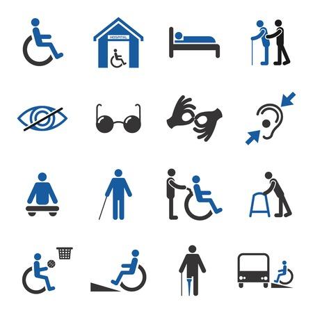 discapacidad: Las personas con discapacidad se preocupan de asistencia y accesibilidad iconos de ayuda establecidos, ilustración, Vectores