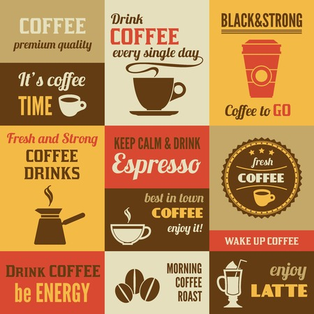 turk: Coffee  premium quality fresh and strong mini poster set isolated illustration