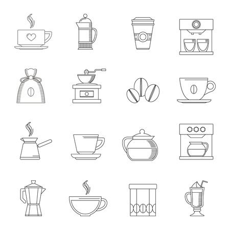 Coffee outline icons set with turk pouch jar isolated illustration