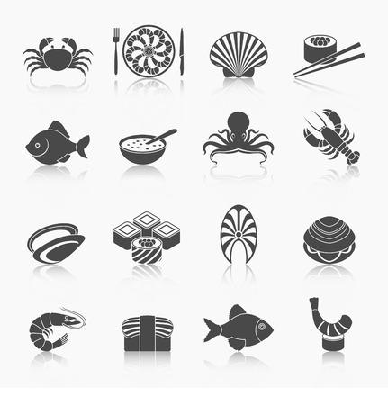 almeja: Mariscos restaurante men� de pescado iconos conjunto negro con cangrejos de r�o aislados pulpo sopa ilustraci�n