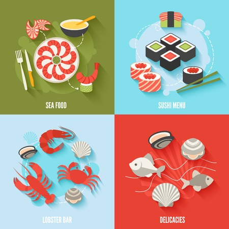 crawfish: Seafood flat icons set with sushi menu lobster bar delicacies isolated illustration