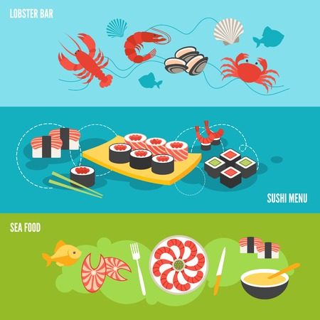 Seafood banner set with sea food lobster bar sushi menu isolated illustration Vector