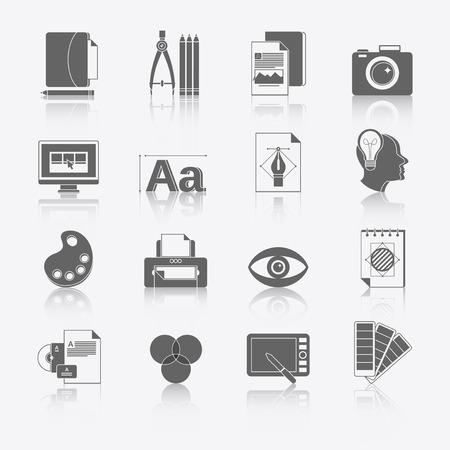 folder design: Graphic design studio tools black icons set with brush marker camera isolated illustration. Illustration