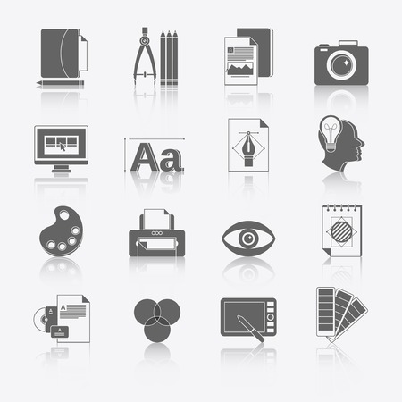 Graphic design studio tools black icons set with brush marker camera isolated illustration. Illustration