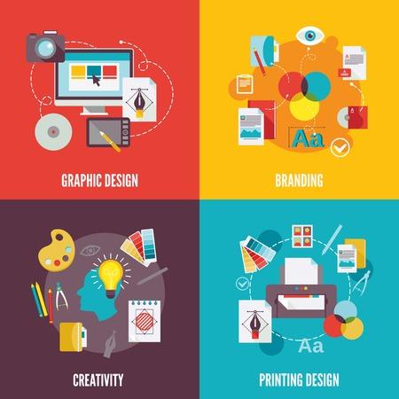 Grafisch ontwerp vlakke pictogrammen set met branding creativiteit afdrukken geïsoleerde illustratie Vector Illustratie