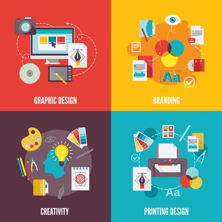 Graphic design flat icons set with branding creativity printing isolated illustration Vector