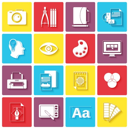 printing icon: Graphic design icons set with palette sketching digital designer isolated illustration
