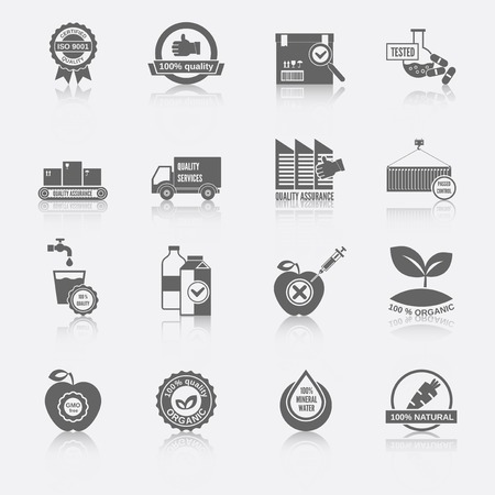 water quality: Quality control certified quality checklist test services organic icons black set isolated vector illustration