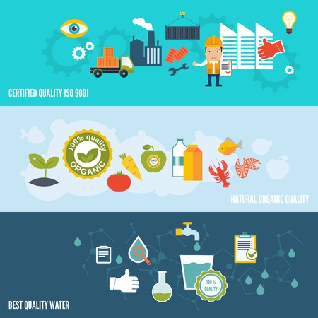 Quality control banners set with certified quality natural organic best water isolated illustration Vector
