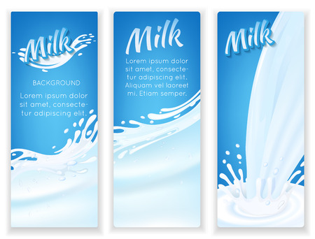 Milk drops flow and splashes on blue background vertical banners set isolated illustration