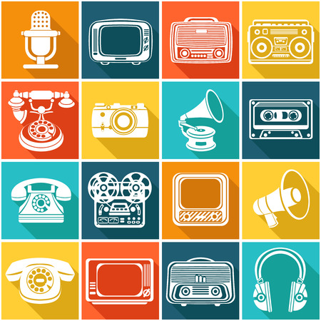 Vintage retro media gadgets icons set of headphones vinyl player tv isolated illustration Vector