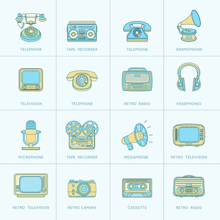 Vintage retro media gadgets flat line icons set of photo camera cassette telephone isolated  illustration Vector
