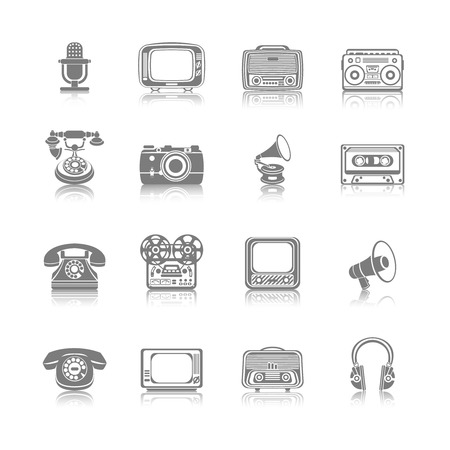 video cassette tape: Vintage retro media gadgets black icons set of tape recorder gramophone megaphone isolated illustration
