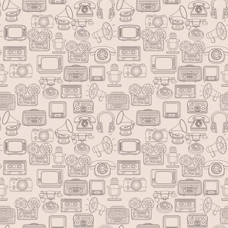 Vintage media gadgets outline seamless pattern with vintage technology devices illustration Vector