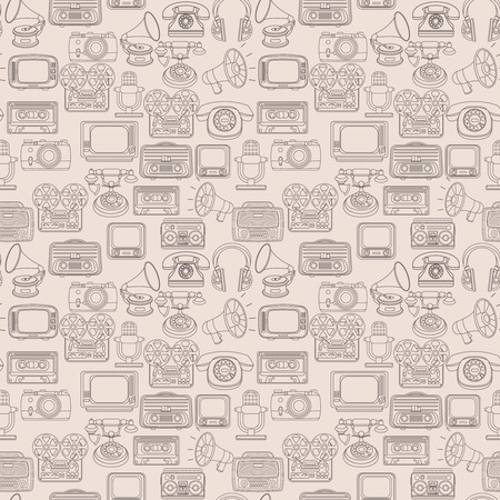video cassette tape: Vintage media gadgets outline seamless pattern with vintage technology devices illustration