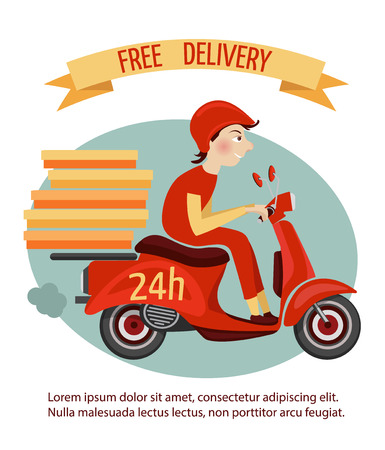 moped: Delivery courier on retro scooter with boxes fast 24h service poster illustration