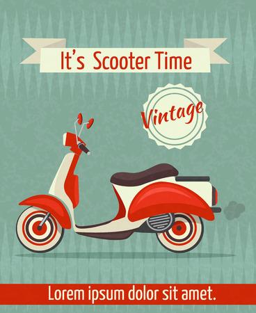 scooter: Moto scooter deporte transporte retro vendimia cartel de papel con la ilustraci�n de la cinta
