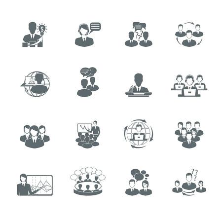 Business meeting black icons set of presentation teamwork management elements isolated illustration Vector