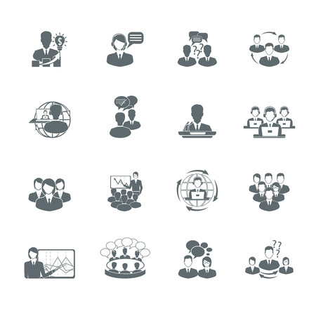 teamwork business: Business meeting black icons set of presentation teamwork management elements isolated illustration