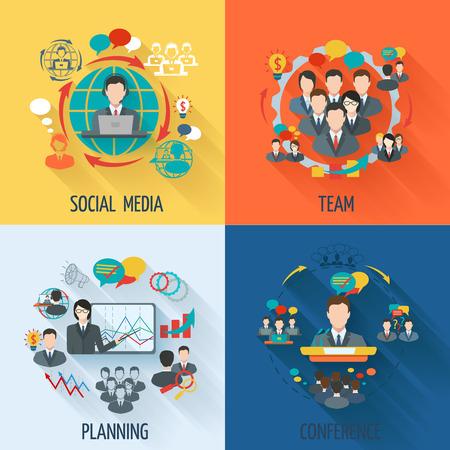 colaboracion: Icono de reuniones plana fija con equipo de medios sociales conferencia de planificaci�n ilustraci�n aislada Vectores