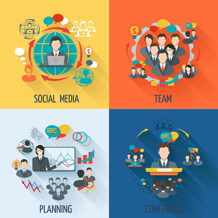 social network service: Meeting icon flat set with social media team planning conference isolated illustration