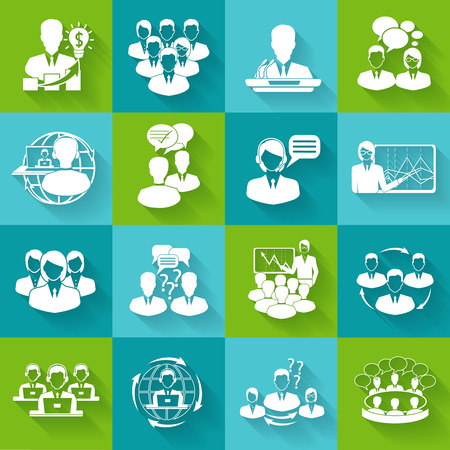 mediation: Business meeting white icons set of conference brainstorming group elements isolated illustration