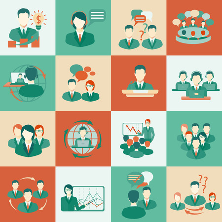team meeting: Business meeting flat icons set of collaboration planning partnership elements isolated illustration.