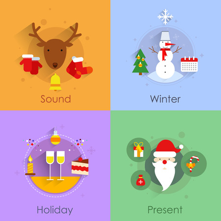 warmly: Christmas icons flat set with holiday sound winter present isolated illustration